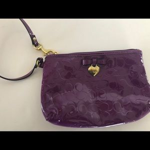 Coach Iris Patent Leather Purple Wristlet Bow